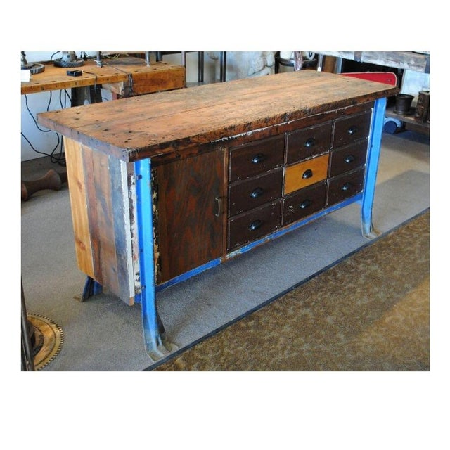 Vintage Wood Workbench Table or Console - Image 5 of 9