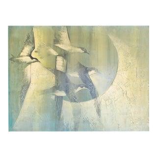 Oversized Original Oil Painting on Masonite, Green Birds in Flight Signed Chichicok