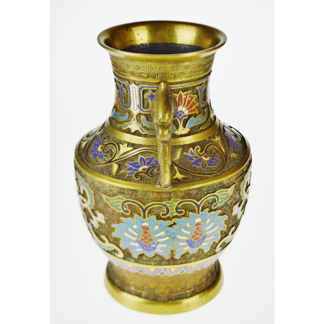 Asian Vintage Japanese Brass Champleve Urn Shaped Vase with Figural Handles For Sale - Image 3 of 11