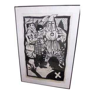 "Urban Art-Artist Proof Limited Edition Woodblock Print ""The Malcolm X Paradox: A Klan Alliance #2""-Thom Shaw-Signed/Dated For Sale"