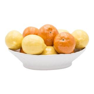Vintage Italian Majolica Bowl of Lemons and Oranges For Sale