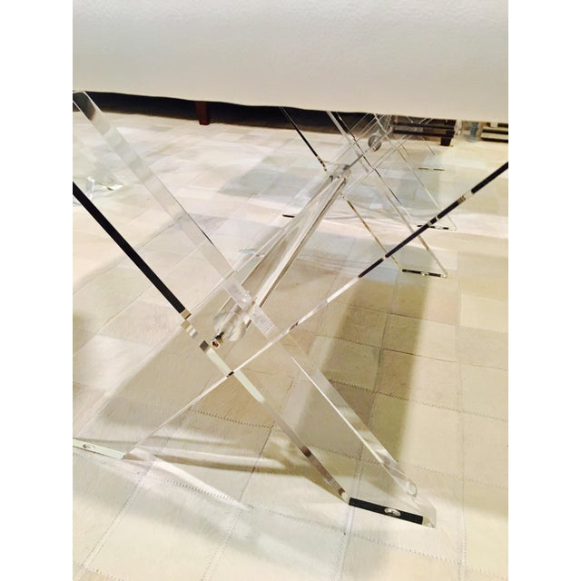 White Leather Lucite X Benches - A Pair - Image 4 of 6
