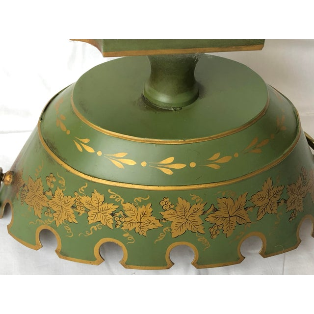 Green French Green & Gold Tole Neoclassical Footed Monteith/Rafraichissoire/Chillers, Hp For Sale - Image 8 of 13