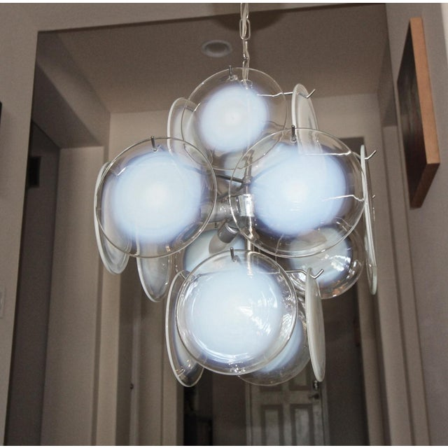 Vistosi Murano Clear & Opalescent Glass Disc Chandelier Pendant Light For Sale In Palm Springs - Image 6 of 13