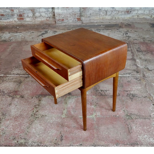 Wood Johannes Andersen-Two Drawer Teak Bedside Tables-Mid Century Danish - A Pair For Sale - Image 7 of 10