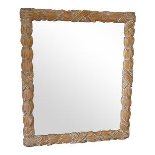 Large Italian Designer Twisted Acanthus Leaf Wood Mirror For Sale