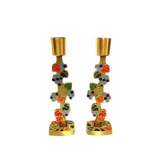 1970s Terra Sancta Guild Enamel Brass Candle Holders- a Pair For Sale