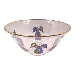 Mid-Century Gilt Glass Fruit Bowl For Sale