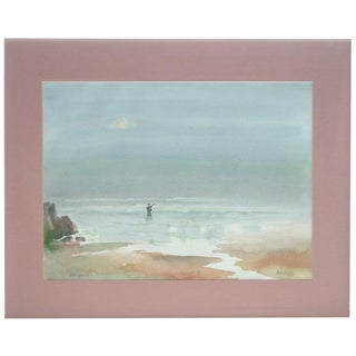 Robert E. Eddy Fishing for Striped Bass at the Coast - Landscape For Sale