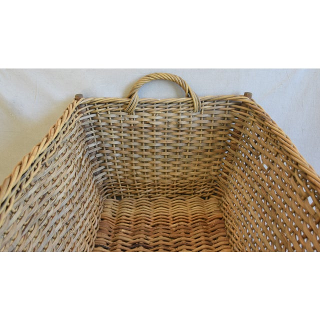 Wicker Large Early 1900s French Woven Wicker/Willow Market Basket For Sale - Image 7 of 11