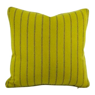 Osborne & Little Lomond Stripe Moss Green Self-Welt Pillow Cover For Sale