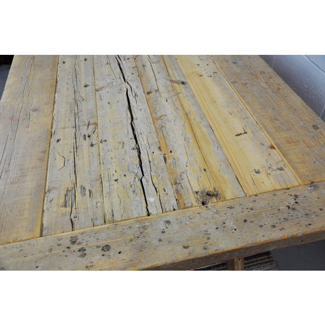 Salvaged Industrial Reclaimed Pine Wood Rustic Dining Table With Metal Elements For Sale - Image 10 of 13