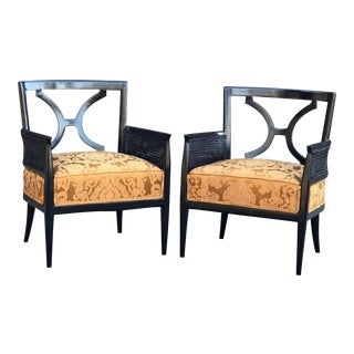 Mid 20th Century Mexican Hollywood Regency Style Arm Chairs - a Pair For Sale