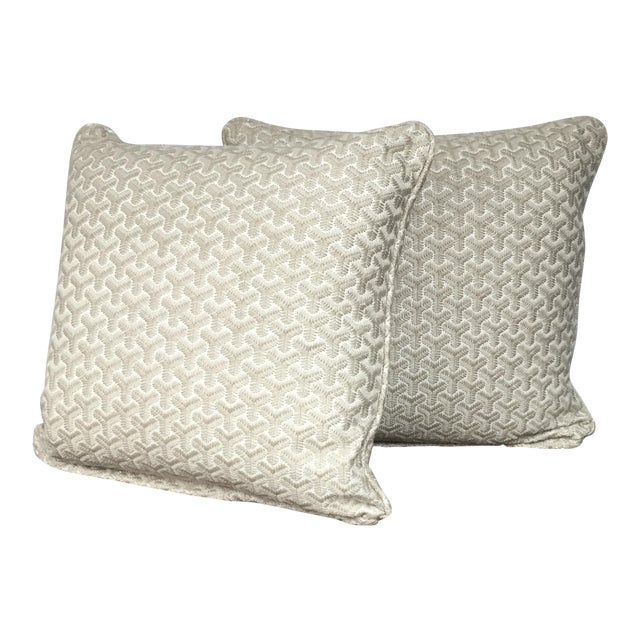Gray Geometric Embroidered Throw Pillows - A Pair For Sale