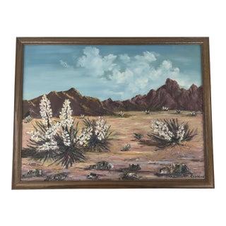 Vintage Desert in Spring Landscape Painting For Sale