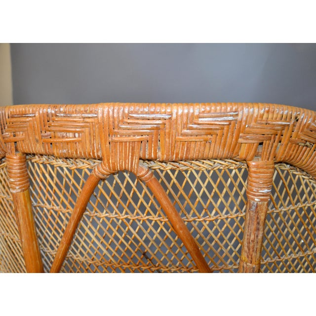 Vintage Boho Chic Handcrafted Wicker, Rattan and Reed Peacock High Back Chair For Sale - Image 10 of 13