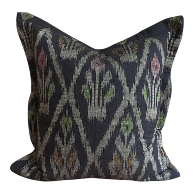 Indigo Ikat Handwoven Thailand Pillow For Sale