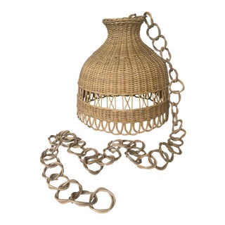 Vintage Rattan Hanging Shade With Link Chain For Sale