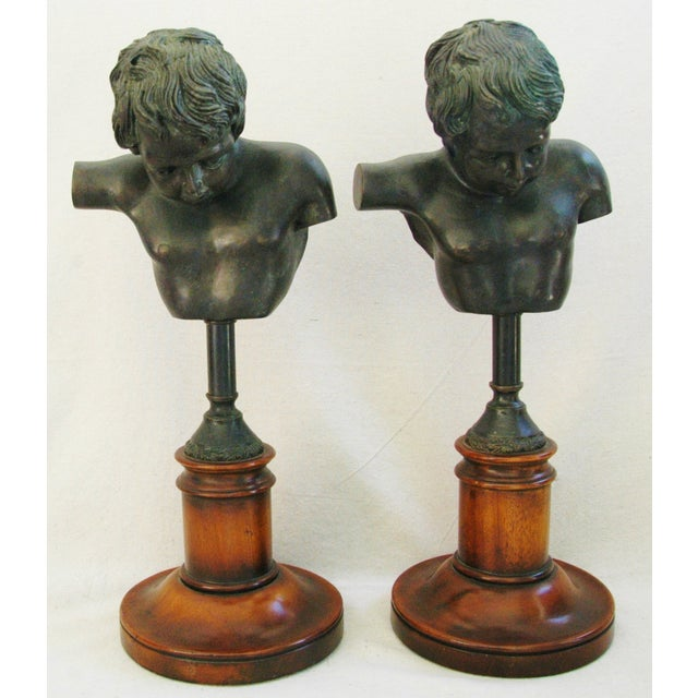 1940's English Bronze Busts With Bases - A Pair - Image 2 of 11