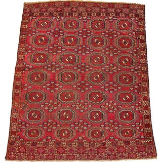 1850s Hand Made Antique Collectible Turkoman Saryk Rug 4' X 5.2' For Sale