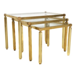 Mid Century Brass & Glass Nesting Tables - Set of 3