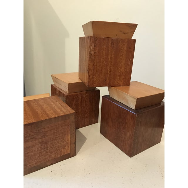 Contemporary 1950s Mid Century Modern Wooden Lidded Boxes - Set of 4 For Sale - Image 3 of 6