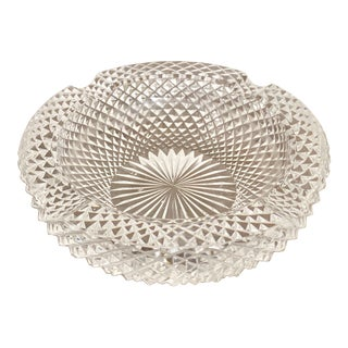 Vintage Modern Round Hand Cut Clear Crystal Ashtray For Sale