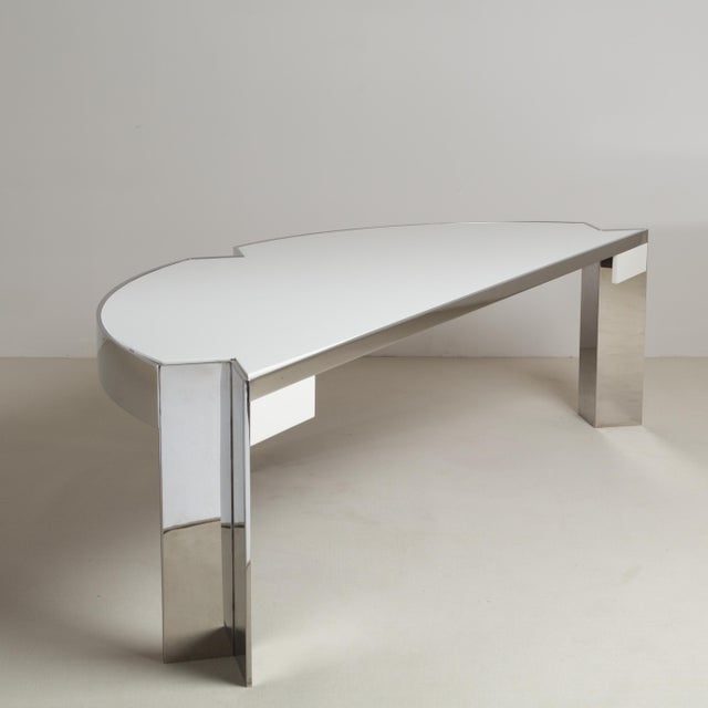 A Pace Designed Chromium Steel and Ivory Lacquer Desk, 1970s For Sale - Image 9 of 10