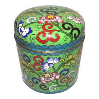 Early 20th Century Chinese Cloisonné Cylinder Shaped Box For Sale