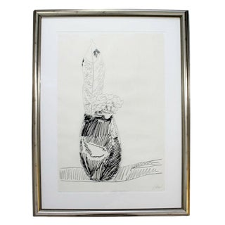 Mid Century Modern Framed Pencil Signed Andy Warhol Black & White Flower 1974 For Sale