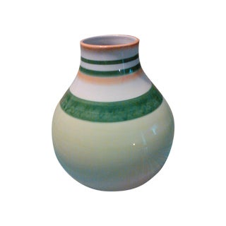 Fitz & Floyd Large Bulbous Bright Beautifully Striped Vase For Sale