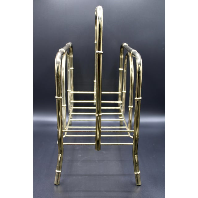 Vintage Brass Bamboo Style Magazine Rack / Book Shelf For Sale In Tulsa - Image 6 of 13
