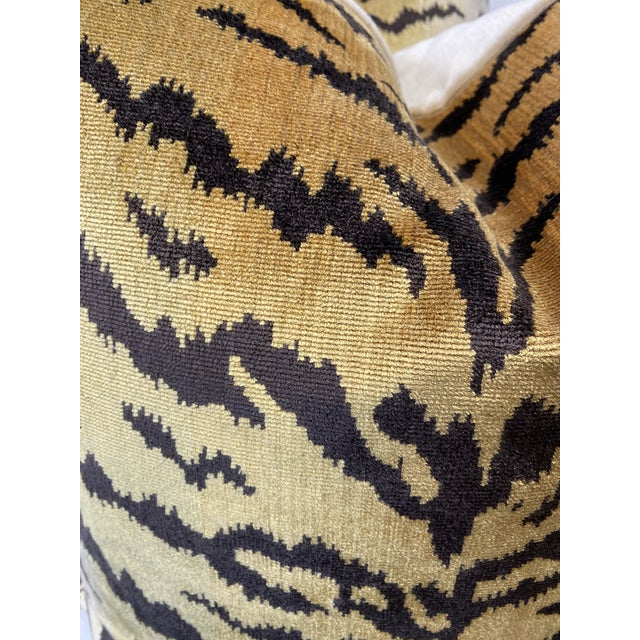 """Custom pair of 22"""" pillows covered in Scalamandre' """"Tiger"""" in brown on gold silk velvet and backed in Brunschwig & Fils..."""