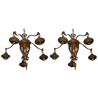 1920s Brass Lights - A Pair For Sale
