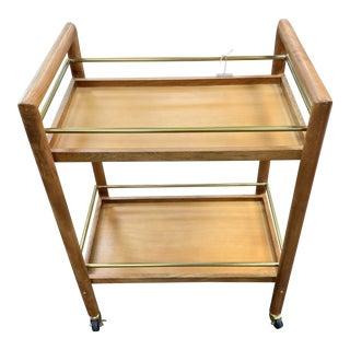 Mid Century Modern Vintage Teak Wood Bar Cart For Sale