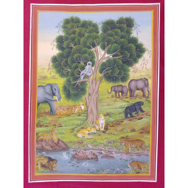 Folk Art Hand Painted Detailed Tree of Life Fine Miniature Painting Delicate Vasli Paper Natural Colors Work Udaipur Art Work For Sale - Image 3 of 3