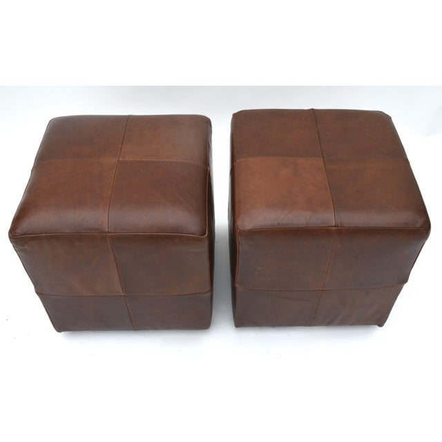 Contemporary Mitchell Gold for Restoration Hardware Leather Cube Ottoman Pair For Sale - Image 3 of 6