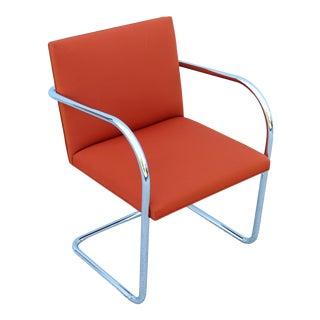 Mid-Century Modern Mies Van Der Rohe for Knoll Brno Orange Fabric Tubular Chair For Sale