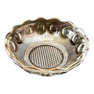Moons, Lines and Hobnail Pattern Pressed Glass Bowl