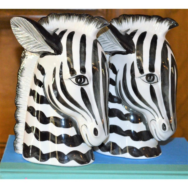 1970s Boho Chic Fitz & Floyd Porcelain Zebra Bookends - a Pair For Sale In Houston - Image 6 of 10