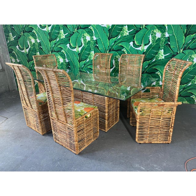 Rattan Rope Wrapped 7-Piece Dining Set For Sale - Image 10 of 11