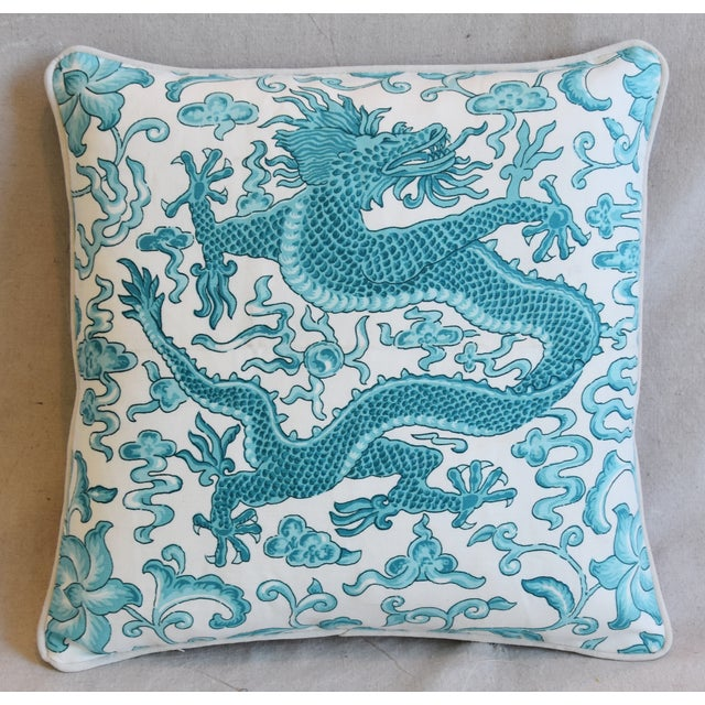 "Italian Chinoiserie Scalamandre Dragon Feather/Down Pillow 19"" Square For Sale In Los Angeles - Image 6 of 7"