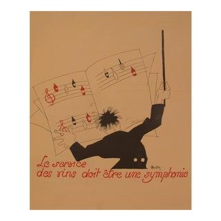 """1930s Vintage French Art Deco Print, Nicolas, """"Le Service Des Vins Doit Etre Une Symphonie."""""""
