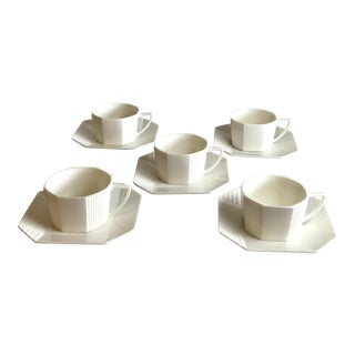 Mid-Century Modern Fine China Cups & Saucers - Set of 5 For Sale