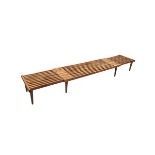 Mid-Century Modern Extending Slatted Bench-Table by John Keal For Sale