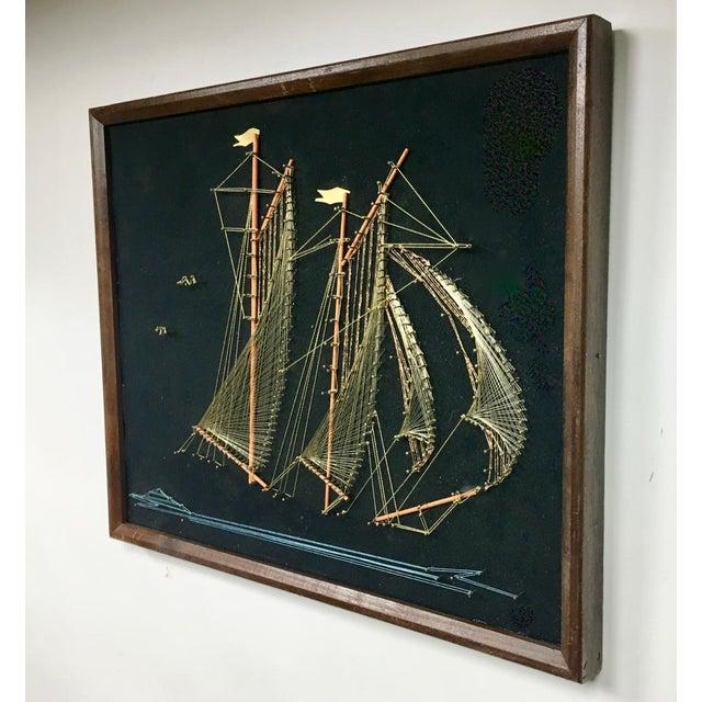 Nautical 1970s Vintage Framed Sailing Ship String Art For Sale - Image 3 of 5
