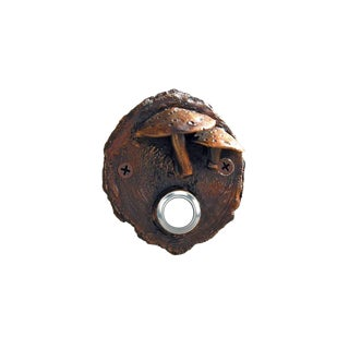 Log End Toadstool Doorbell, Traditional Patina For Sale