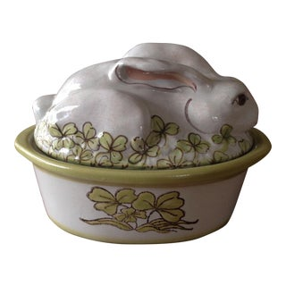 Stoneware Vintage Easter Rabbit Covered Casserole Dish/Tureen For Sale