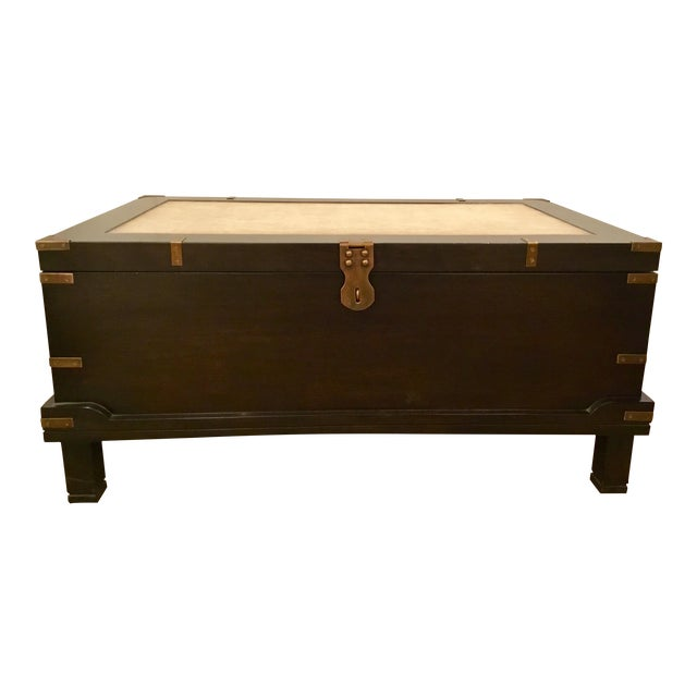 Currey & Co. Transitional Dark Wood Coffee Table Trunk Prototype For Sale