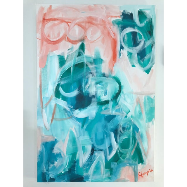 """""""Saona"""" original painting by abstract artist Christina Le Sesne Longoria. This piece was inspired by the blue waters of..."""